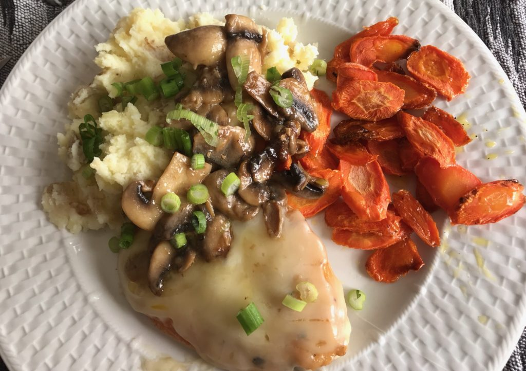 Cheesy Smothered Mushroom Chicken with Mashed Potatoes and Roasted Carrots