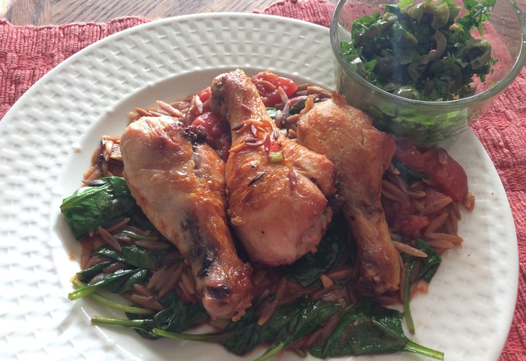 Marley Spoon Stewed Chicken Drumsticks with Orzo & Olive-Parsley Relish