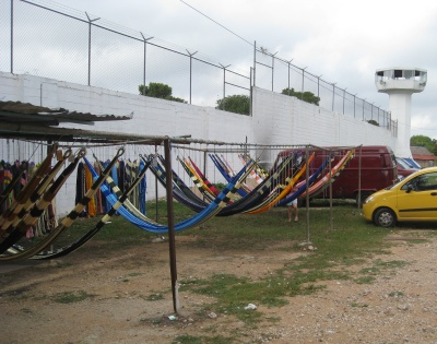 Hammocks outside the prison at Valladolid