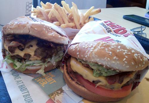 BBQ Bacon Cheeseburger & Cheeseburger w/ Avocado & Bacon